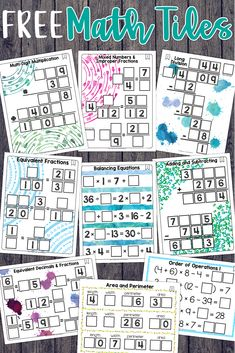 Math tiles are one of the best ways to teaching critical thinking and problem solving. This free set covers several topics: fractions, order of operations, area and perimeter, and so much more. Free Fraction Worksheets, Fractions Worksheets, Free Teaching Resources, Teaching Math, Teaching Fractions, Classroom Resources, Classroom Ideas, Google Classroom, 3rd Grade Math