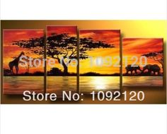 Handpainted 4 piece modern landscape oil painting on canvas wall art sunset African animals picture for home decor unique gift $99