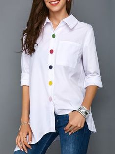 Irregular Thin Women Office Lady Shirt Top Plus Size Colorful Button White Long Sleeve Feminine Blouses Tops Summer Lady Shirts Casual Outfits, Fashion Outfits, Fashion Fashion, White Shirts, Summer Tops, White Long Sleeve, African Fashion, Blouse Designs, Shirt Blouses