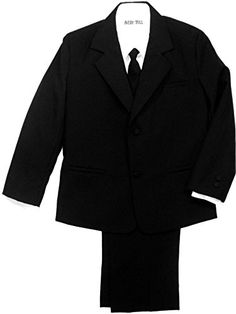 Avery Hill Boys Formal Tuxedo 5 Piece Black Suit with Shirt and Vest * More info @