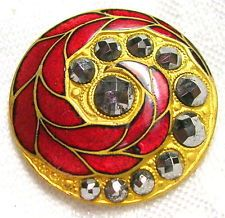 ANTIQUE GILT BRASS RUBY RED CHAMPLEVE ENAMEL BUTTON w/FEATHER & CUT STEELS