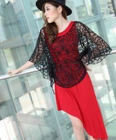 Western Style Hollow Out Gauze Batwing Blouse Black--Click on the picture link you will be able to get it, we support wholesale.
