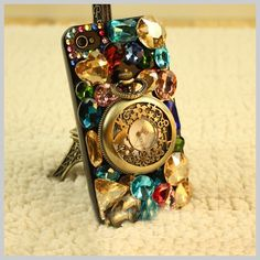 Handmade Colorful Crystal Whith Pocket Watch Case For iPhone - Free Shipping- - TopBuy.com.au