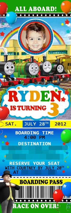 Train Party Invites! :) #train #birthdayparty #Etsy