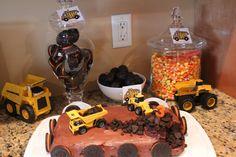 "Construction Birthday Party Ideas - Oreos as ""spare tires"", chocolate donut holes as ""wrecking balls"", candy corn as ""construction cones"".  Construction theme birthday cake"