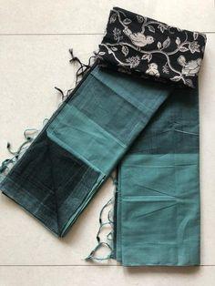 Mangalgiri cotton saree Kalamkari Blouse Designs, Cotton Saree Designs, Blouse Designs Silk, Silk Cotton Sarees, Kurta Designs, Cotton Silk, Salwar Dress, Sari Dress, Satin Saree