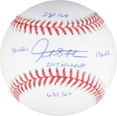 7ee17f672a4 Giancarlo Stanton Miami Marlins Autographed Baseball with 2017 Stats  Inscriptions - Limited Edition of 27