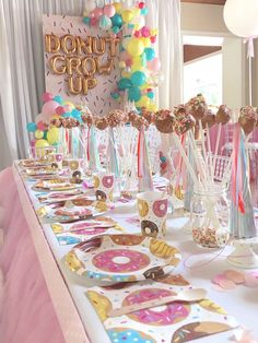 "Donut partyware from a ""Donut"" Grow Up 1st Birthday Party on Kara's Party Ideas 