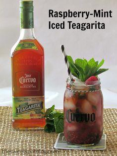 Jose Cuervo Raspberry-Mint Iced Teagarita by The Sweet Spot Blog #icedtea #margarita #CuervoTeagarita