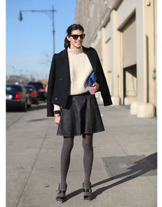 Black Pin Stripe Skirt and tights with boxy jacket and creme sweater