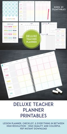 This Deluxe Teacher Planner has everything to get you organized for the following school year! Everything from a lesson planner, to grade sheets, and every checklist imaginable in between. It's super functional, high quality, and colorful without going over board.