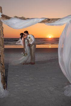 #beachwedding #brideandgroom #justmarried #destinationwedding Simple Wedding Menu, Simple Weddings, Beach Ceremony, Ceremony Backdrop, Dramatic Photos, Sunset Wedding, Photography Packaging, Us Beaches, Beach Weddings