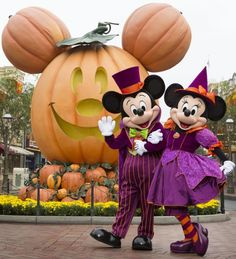 Mickey and Minnie in costume