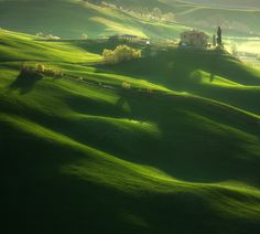 Rolling hills in Tuscany.