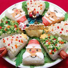 サンタとツリーでクリスマス寿司ケーキ