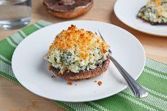 Portobello Mushrooms Stuffed with Spinach & Artichoke Dip