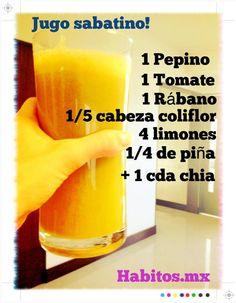 Jugo ANTI-OXIDANTE E HIDRATANTE: pepino, tomate, coliflor, piña y chia - - -> http://tipsalud.com ✅
