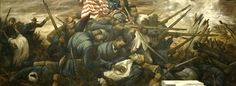 """Massachusetts 54th Company A, site image: """"Shaw at Fort Wagner"""" mural by Carlos Lopez"""