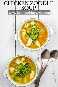 It's warm hearty and comforting and with zoodles instead of noodles it's also keto and low-carb! On the table in und. Low Carb Soup Recipes, Chowder Recipes, Casserole Recipes, Dinner Recipes, Keto Recipes, Chili Recipes, Free Recipes, Chicken Zoodle Soup, Gluten Free Soup