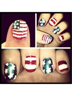 Why stick to one pattern on every nail? Take a cue from Kearsten and alternate stars and stripes, tying everything together with a full flag on your thumb!