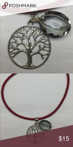 """🆕 New Arrival🆕 Tree of life necklace Brand new Tree of Life necklace with light blue delicate faux gem.  Red cord simulates leather.  Approximate measure 16"""". Jewelry Necklaces"""