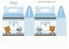 "Digital Arts Kit ""Blue and Brown Bear"" for Print - Simple Digital Invitations Fotos Baby Shower, Moldes Para Baby Shower, Baby Shower Photos, Baby Shower Parties, Baby Shower Themes, Baby Shower Decorations, Diy Tassel Garland, Baby Shower Souvenirs, Paper Box Template"