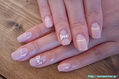 Reverse French manicure pink beige