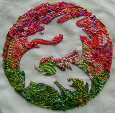 "Isn't this beautiful?  Visit her blog!  (as posted)  ""....a lot of different stitches: herringbone stitch, (half) chevron stitch, bullion knots, French knots, cast on stitch, buttonhole stitch, chain stitch and variations, Algerian eyes, fly stitch, cross stitch, Cretan stitch, bonnet stitch, woven and whipped wheels, Basque stitch, satin stitch, wheatear stitch, Portuguese stem stitch, (spiral) trellis stitch, arrowhead stitch, buttonhole bar stitch and drizzle stitches."""