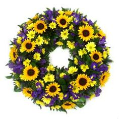 Sunflower Yellow and Blue Funeral Ring