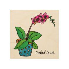 Watercolor Orchid Plant In Beautiful Pot Wood Wall Art - holidays diy custom design cyo holiday family