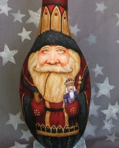 Nutcracker Santa, tall gourd, hand painted Santa Claus, unique gift, 20 inches tall. $175.00, via Etsy.
