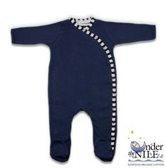 Long Sleeved Side-Snap Organic Cotton Footie in Red or Navy Blue from Under The Nile, $27.98