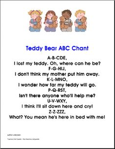 Teddy Bear ABC Chant for preschool and kindergarten - Click for printable pdf