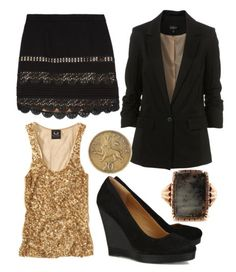 Love black and gold...want the skirt!