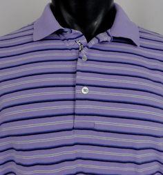 Bobby Jones Golf Polo Shirt SS Mens L 100% Peruvian Pima Cotton Purple Striped  #BobbyJones #PoloRugby