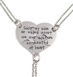 This listing includes a set of three stainless steel puzzle pieces, pieced together to make a heart which measures about 1 1/2. Each piece measures about 3/4 and is hand stamped with the text shown in the sample photo. Each piece hangs on the stainless steel chain of your choosing. ●▬▬▬▬▬▬▬▬▬●●●♥●{♥}●♥●●●▬▬▬▬▬▬▬▬▬●  PRODUCTION TIME  Current production time can be found in our shop annoucements at the top of the page here: https://www.etsy.com/shop/Stampressions?r...