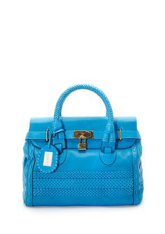 Gucci Top Handle Satchel with Woven Detail.