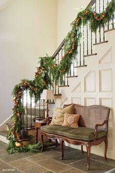 Staircase garland. #holiday #decorating