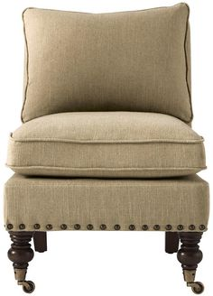 Harrison Armless Chair with Nailheads - Accent Chairs - Living Room - Furniture | HomeDecorators.com