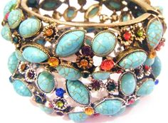 Turquoise Crystal Cuffs - Gold or Silver