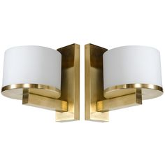 Pair of Exquisite Art Deco Brass & Frosted Glass Sconces Signed by Jean Perzel