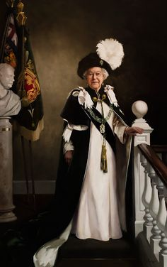 """royals-and-quotes: """"Portrait of Her Majesty Queen Elizabeth II, commissioned by The Queen's Body Guard, Royal Company of Archers to mark The Queen's Birthday in Painted by artist Nicola Jane (Nicky) Philipps. The Queen is wearing the robes. Die Queen, Hm The Queen, Royal Queen, Her Majesty The Queen, Queen Liz, Commonwealth, Royal Company, Isabel Ii, Queen Elizabeth"""