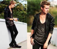 H Leather Jacket, H Tanktop, Super Slimfit Jeans, H Black Leather Shoes