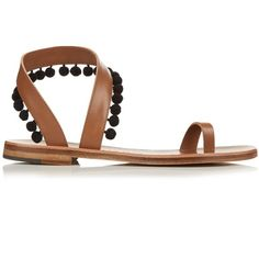 a309588d9 Álvaro Angela pompom embellished leather sandals ( 315) ❤ liked on Polyvore  featuring shoes