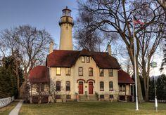 Lighthouse on Lake Michigan at Evanston, Illinois