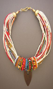 Anna Holland designs unique ethnic jewelry and tribal jewelry. What a fabulous necklace! I Love Jewelry, Tribal Jewelry, Boho Jewelry, Jewelry Crafts, Jewelry Art, Beaded Jewelry, Jewelery, Jewelry Accessories, Handmade Jewelry