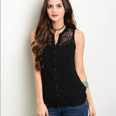 Arriving soon! Black lace inset sleeveless top! Available in S-M-L Tops Tank Tops