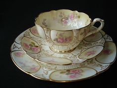 VICTORIAN PINK ROSES TEA TRIO SET - CRESCENT CHINA ENGLAND | eBay