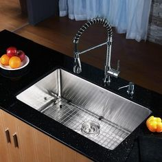 Buy the Kraus Stainless Steel / Chrome Direct. Shop for the Kraus Stainless Steel / Chrome Kitchen Combo - Undermount Single Bowl 16 Gauge Stainless Steel Kitchen Sink with Pullout Spray Kitchen Faucet and Soap Dispenser and save.