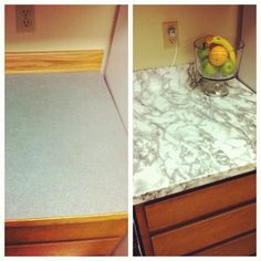 This can be used to cover any countertops/cabinets etc. It's super cheap, & easy to apply and remove and it will not ruin the countertops at all. Here's wher...